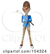 3d Skinny Golfer Guy Facing Front With A Club Across His Chest
