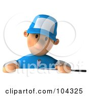 Royalty Free RF Clipart Illustration Of A 3d Golfer Toon Guy Looking Down Sadly At A Blank Sign