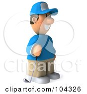 Royalty Free RF Clipart Illustration Of A 3d Golfer Toon Guy Facing Right And Holding A Club