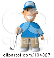 3d Golfer Toon Guy Facing Front And Holding A Club