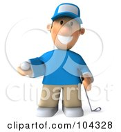 Royalty Free RF Clipart Illustration Of A 3d Golfer Toon Guy Facing Front And Holding A Club And Ball