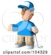 Royalty Free RF Clipart Illustration Of A 3d Golfer Toon Guy Facing Left And Holding A Club