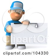 Royalty Free RF Clipart Illustration Of A 3d Golfer Toon Guy Looking At A Blank Sign