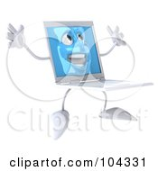 3d White Laptop Character Jumping Happily