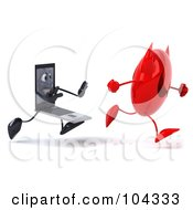3d Black Laptop Character Chasing A Round Devil