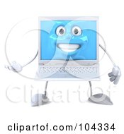 3d White Laptop Character Facing Front Smiling And Gesturing