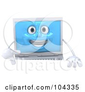 3d White Laptop Character Smiling And Standing Behind A Blank Sign