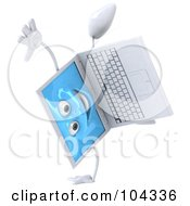 3d White Laptop Character Doing A Hand Stand