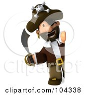 Royalty Free RF Clipart Illustration Of A 3d Young Pirate Holding A Sword And Looking Around A Blank Sign