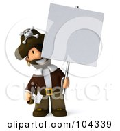 Royalty Free RF Clipart Illustration Of A 3d Young Pirate Facing Front And Holding Up A Blank Sign