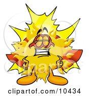 Sun Mascot Cartoon Character Dressed As A Super Hero
