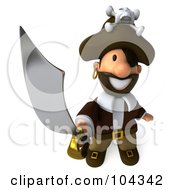 Royalty Free RF Clipart Illustration Of A 3d Young Pirate Smiling Upwards And Holding Out A Sword by Julos