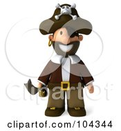3d Young Pirate Standing And Facing Front With A Sword