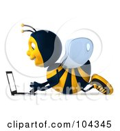 Royalty Free RF Clipart Illustration Of A 3d Bee Character Laying On The Floor And Using A Laptop Facing Left