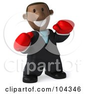 3d Black Business Man Facing Right And Wearing Boxing Gloves
