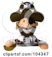 Royalty Free RF Clipart Illustration Of A 3d Young Pirate Holding A Sword Over A Blank Sign by Julos