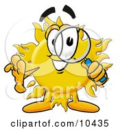 Clipart Picture Of A Sun Mascot Cartoon Character Looking Through A Magnifying Glass by Toons4Biz