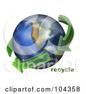 Royalty Free RF Clipart Illustration Of 3d Green Transparent Arrows Circling Earth With Recycle Text by BNP Design Studio