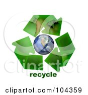 Royalty Free RF Clipart Illustration Of 3d Green Geographic Arrows Circling Earth With Recycle Text by BNP Design Studio