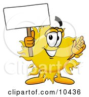Clipart Picture Of A Sun Mascot Cartoon Character Holding A Blank Sign by Toons4Biz