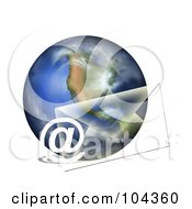 Royalty Free RF Clipart Illustration Of An Email Symbol And Transparent Envelope By A 3d Globe by BNP Design Studio