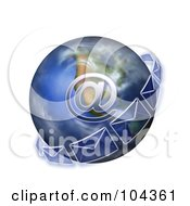 Royalty Free RF Clipart Illustration Of An Email Symbol And Transparent Envelopes On A 3d Globe