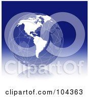 Royalty Free RF Clipart Illustration Of A Wire Globe With White Continents