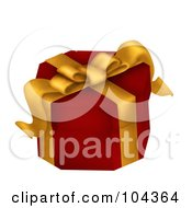 Royalty Free RF Clipart Illustration Of A 3d Red Gift Box With A Yellow Ribbon by BNP Design Studio