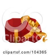 Royalty Free RF Clipart Illustration Of A 3d Opened Red Gift Box With A Yellow Ribbon
