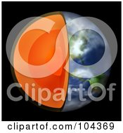 Royalty Free RF Clipart Illustration Of A 3d Earth With The Center Exposed