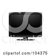 Royalty Free RF Clipart Illustration Of A Black LCD Television Screen On A Stand