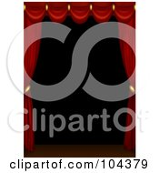 Royalty Free RF Clipart Illustration Of 3d Red Curtains Scalloped Across The Top Of A Dark Stage