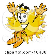 Clipart Picture Of A Sun Mascot Cartoon Character Jumping by Toons4Biz