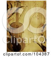Royalty Free RF Clipart Illustration Of A Grungy Violin Background With Vines by BNP Design Studio