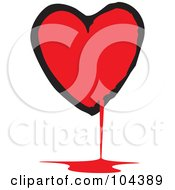 Royalty Free RF Clipart Illustration Of A Black And Red Bloody Heart by xunantunich