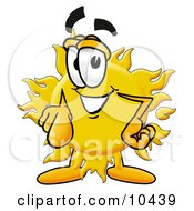 Clipart Picture Of A Sun Mascot Cartoon Character Pointing At The Viewer by Toons4Biz