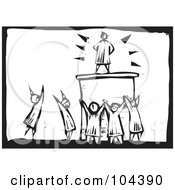 Royalty Free RF Clipart Illustration Of A Black And White Woodcut Styled Scene Of People Worshiping A Man
