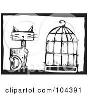Royalty Free RF Clipart Illustration Of A Black And White Woodcut Styled Cat By A Bird Cage