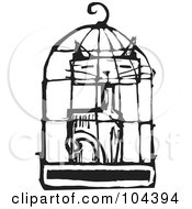 Royalty Free RF Clipart Illustration Of A Black And White Woodcut Styled Cat In A Bird Cage