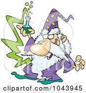 Royalty Free RF Clip Art Illustration Of A Cartoon Merlin Holding A Beaker by toonaday