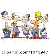 Royalty Free RF Clip Art Illustration Of A Cartoon Group Of Men From Different Occupations by toonaday