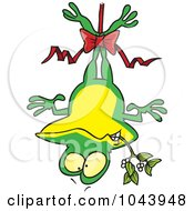 Cartoon Frog Hanging Upside Down With Mistletoe