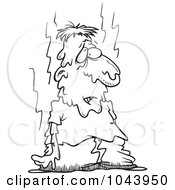 Royalty Free RF Clip Art Illustration Of A Cartoon Black And White Outline Design Of A Hot Man Melting