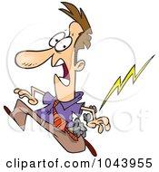 Royalty Free RF Clip Art Illustration Of A Cartoon Misfortunate Businessman Running From Lightning by toonaday
