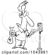 Royalty Free RF Clip Art Illustration Of A Cartoon Black And White Outline Design Of A Man Holding A Money Bag And Paying A Parking Meter