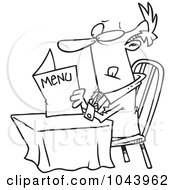 Royalty Free RF Clip Art Illustration Of A Cartoon Black And White Outline Design Of A Businessman Reading A Diner Menu by toonaday