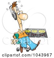 Royalty Free RF Clip Art Illustration Of A Cartoon Musician At His Mix Deck by toonaday