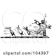 Royalty Free RF Clipart Illustration Of A Black And White Woodcut Styled Robot Chasing After People by xunantunich