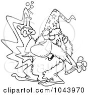 Royalty Free RF Clip Art Illustration Of A Cartoon Black And White Outline Design Of Merlin Holding A Beaker by toonaday