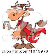 Royalty Free RF Clip Art Illustration Of A Cartoon Super Cow Holding A Glass Of Milk by toonaday